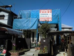 名張市 20年の高耐久性フッ素樹脂の塗料を外壁に塗装