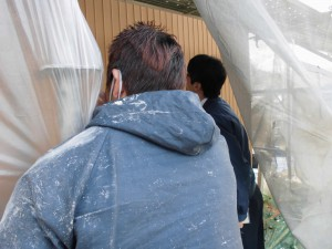 奈良県吉野郡で断熱遮熱塗料ガイナの外壁塗装が始動