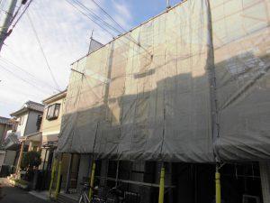 橿原市 サイディング壁とスレート屋根塗装前の洗浄と養生