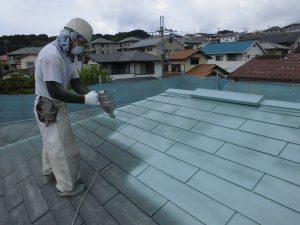 奈良県宇陀市 スレート屋根に断熱遮熱塗料ガイナを塗装