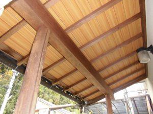 奈良県宇陀市U様 外壁塗装 玄関の木部塗装前