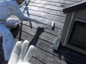 奈良県橿原市 スレート屋根下塗り塗装2回目1