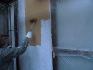 橿原市 冬は断熱で夏は遮熱効果のあるガイナを外壁に塗装