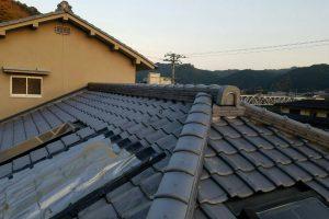 【屋根修理,雨漏り修理】奈良県吉野郡K様 いぶし瓦の屋根の棟瓦の交換・積み直し工事