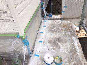 奈良県橿原市 外壁塗装用養生シート張り2