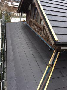 奈良県吉野郡 屋根カバー工法工事 ガルバリウム鋼板を張る7
