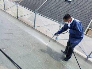 名張市 屋根塗装前の高圧洗浄1
