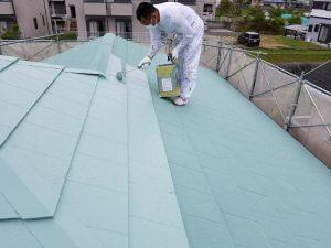 名張市 夏涼しい冬暖かい断熱セラミックガイナを屋根塗装