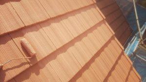 奈良県橿原市 モニエル屋根瓦に遮熱と断熱のガイナを塗装