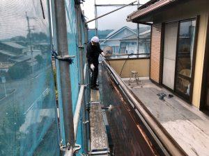 奈良県宇陀市 外壁塗装前の高圧洗浄と養生シート張り